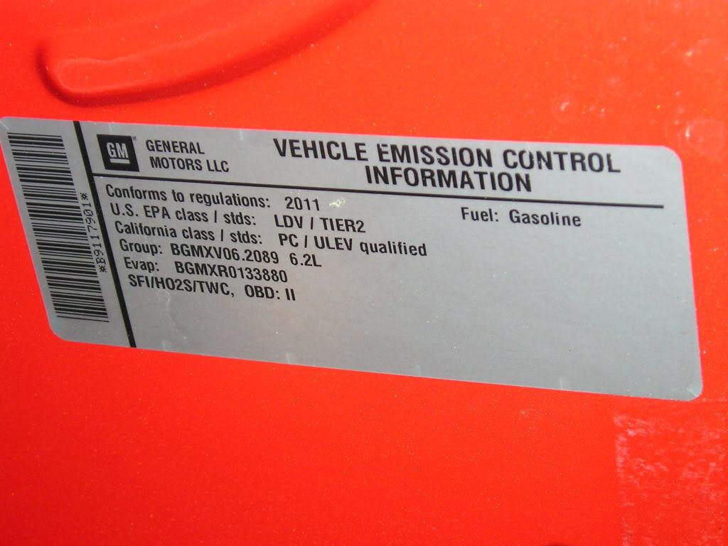 2012 V6 45th Anniversary Vehicle Emission Control Tag